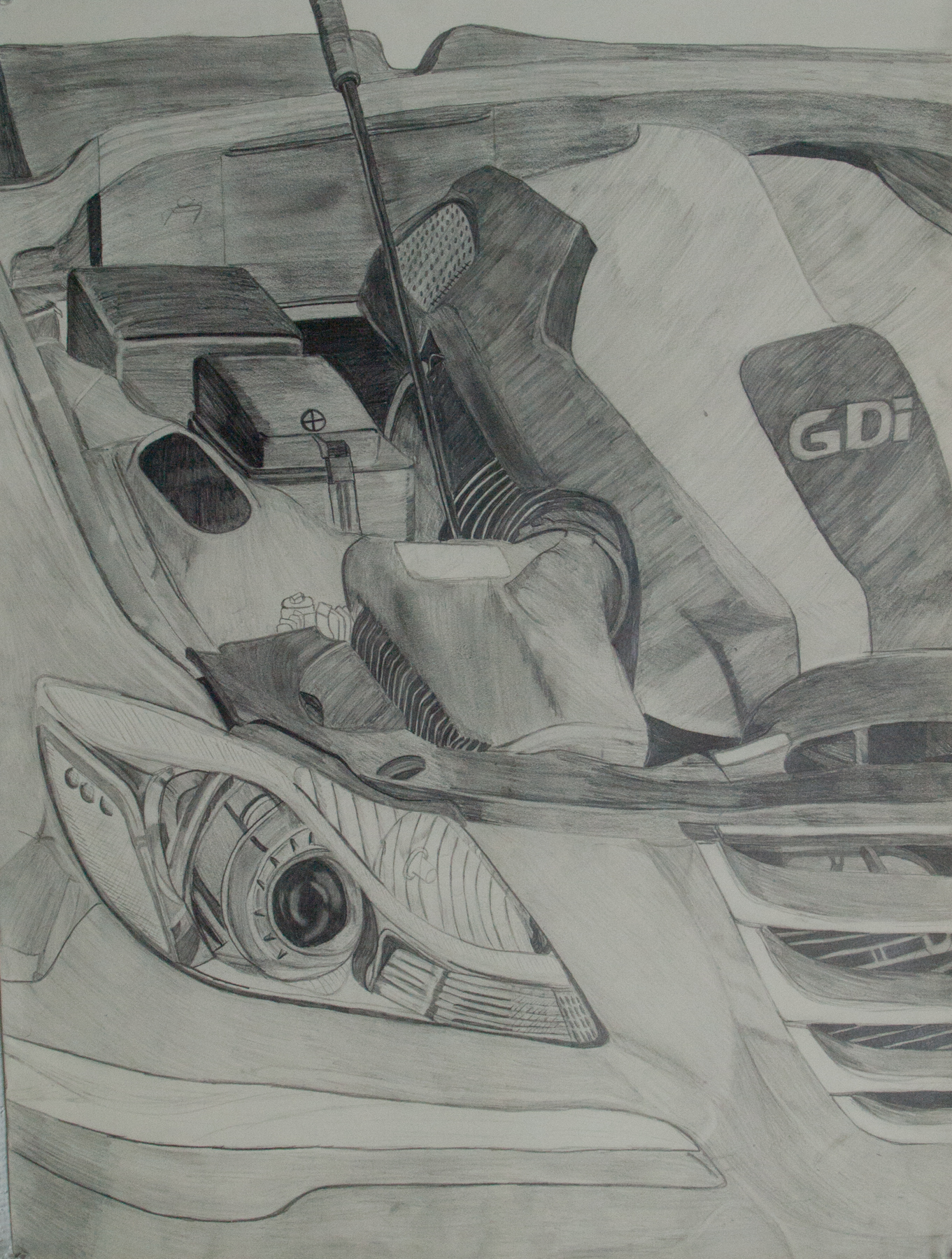 Pencil sketch side view i sat outside in the 95 degree sun for 3