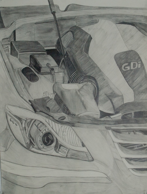 Pencil Sketch, side view, I sat outside in the 95 degree sun for 3 hours a day for two weeks. The intricacy of the engine was my focus