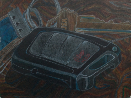 Color sketch on black paper, above view on top of wood board, I mostly worked on background here. Wood has many different layers of colors