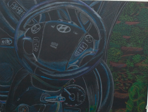 Color Sketch on Black Paper, passenger seat view, I sat inside the car with no AC for 1 1/2 weeks, the color and texture drew me to draw in this piece. Conveying black with color can be tricky